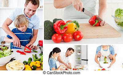 人々, 野菜, 準備, コラージュ