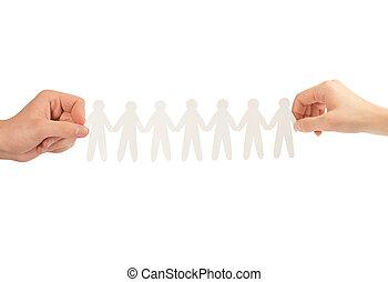 人々, 隔離された, ペーパー, 背景, 手, 白