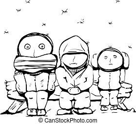 人々, 雪, 下に