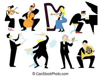 人々, 音楽, 白, オーケストラ, 隔離された