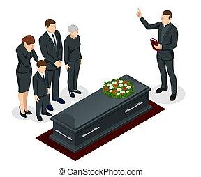 人々, 黒, 花, 等大, 衣服, 地位, 叫ぶこと, 葬式, 悲しい, 式, サービス, tomb., cemetery.