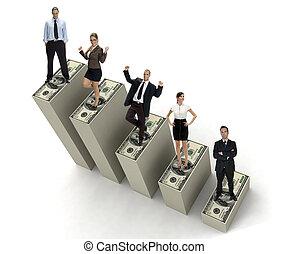 人々, 3, 通貨, 次元, バー, ビジネス, 成功した, 若い