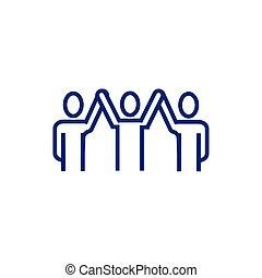 人々, avatars, 手アップ, ビジネス