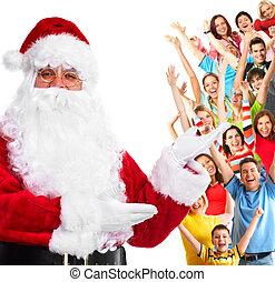 人々。, claus, グループ, santa, 幸せ