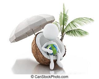 人々, coconut., concept., モデル, vacaction, 白い浜, 3d