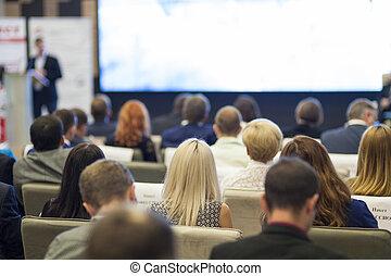 人々, concepts., ビジネス, 監視, モデル, プレゼンテーション, hall., 考え, 議会, front., スクリーン, 大きい, グループ