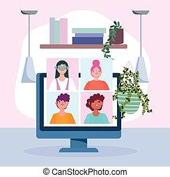 人々, covid, コンピュータ, coronavirus, ∥あるいは∥, 呼出し, 技術, 会議, ビデオ, オンラインで会うこと, 19, の間