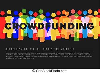 人々, crowdsourcing, 単純なアイコン, 作られた, 概念