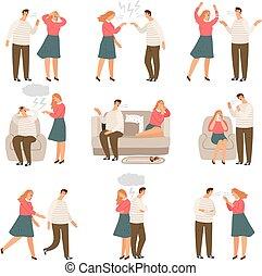 人々, family., 恋人, 妻, 不幸, ベクトル, 夫, 特徴, の間, ∥あるいは∥, 対立