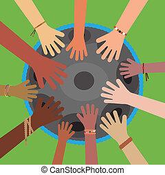 人々。, handpan, hangdrum, 道具, 様々, peoples., 手, 友情, ミュージカル