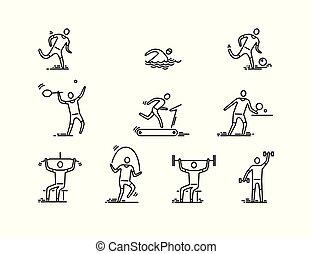 人々, icons., スポーツ, 薄くなりなさい, vector., フィットネス, 線, アイコン