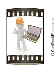 人々, -, laptop., ストリップ, 小さい, エンジニア, フィルム, 3d