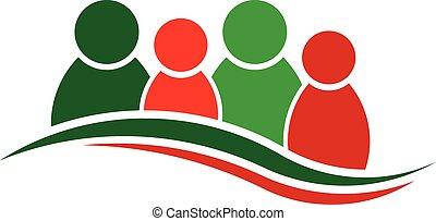 人々, logo., クリスマス, 4, グループ, 人