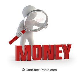 人々, lupe, お金, -, 小さい, 3d