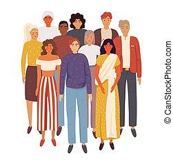 人々, multiethnic, 地位, グループ, 一緒に。