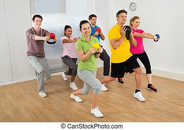 人々, multiethnic, 幸せ, グループ, 運動