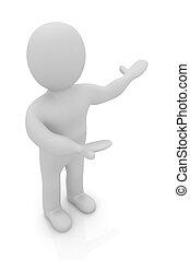 人々, pointing., 提出すること, 人, -, 人, 3d