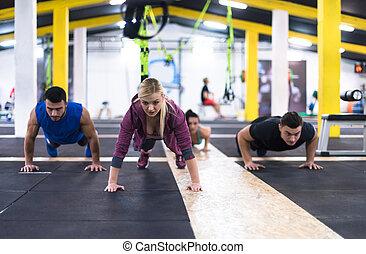 人々, pushups, 若い, 健康