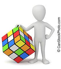 人々, -, rubik's, 小さい, cube., 3d