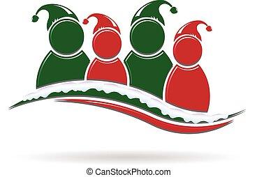人々, santa, 休日季節, 帽子, グループ, 挨拶, snow.