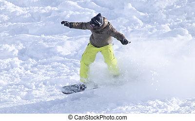 人々, snowboarding, 上に, ∥, 雪, 中に, ∥, 冬