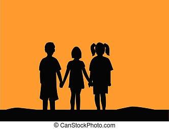 人々, sunset., 友情, 3人の子供たち, シルエット