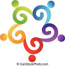 人々, swirly, ベクトル, チームワーク, ロゴ, 友情