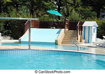 人々, waterslide, 澄んでいる, なしで, プール, 水泳