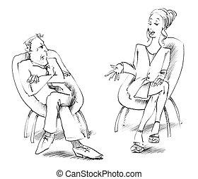 人と女性の話すこと