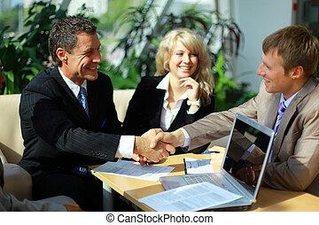 人们商业, 手, , 结束, 会议, 振动