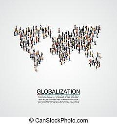 人们的组, 做, a, 地球, 行星, 形状。