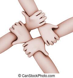 人们, 互锁, 四, 3d, hands.