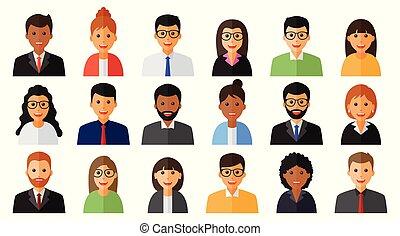人们, 人, 团体, 妇女, 图标, 工作