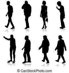 人们, 团体, 各种各样, 黑色, 站, 形成, 侧面影象