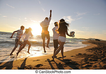 人们, 团体, 跑, 在海滩上