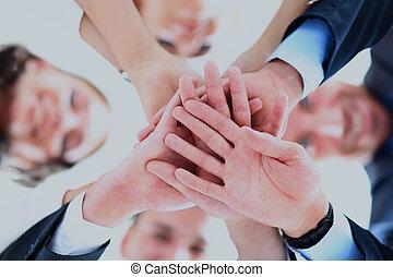 人们, 团结, 团体, hands., 商业