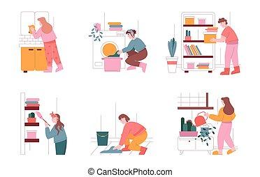 人们, 房子, 家务劳动, 描述, 妇女, 机器, 人, 掸灰, 清洁, 家, work., 打扫, 洗涤, 性格, clothes., 矢量, 放置, 洗衣房, 家庭