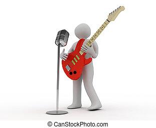 人们, 演奏吉他, 3d, 白色, 电, 话筒, retro