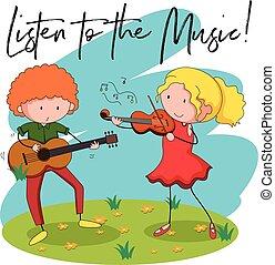人们, 演奏音乐, 在公园中