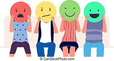 人们, 社会, 销售, emotion., 客户, 评论, emoticons, 客户, 回顾, 媒介, feedback., 不同, 概念, 矢量, 握住