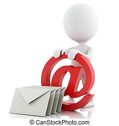 人们, 符号, envelope., 白色, 电子邮件, 3d