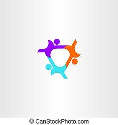 人们, 连接, 队, 图标, 标识语, 符号, 设计