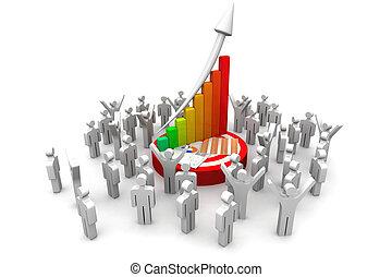 人们, 金融的图表, 3d, 商业