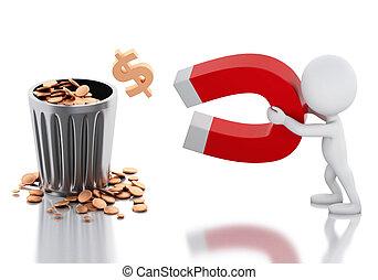 人们, 钱。, 马蹄形磁铁, 白色, 3d, 吸引