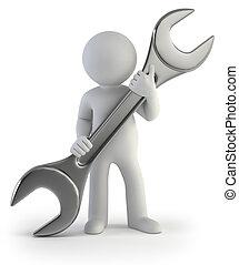 人们, -, wrench, 手, 小, 3d