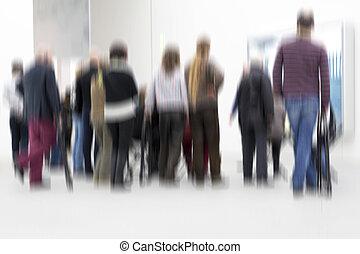 人們的組, 裡面, an, 展覽, 大廳, 模糊
