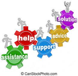 人們, 上, 齒輪, 互相幫助, 到, 伸手可及的距離, 解決