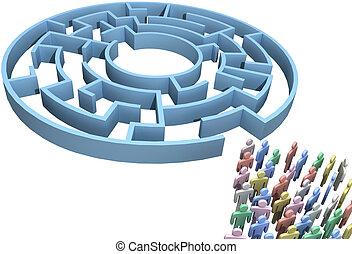 人們, 人群, 搜尋, 迷宮, 被隔离