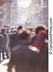 人們, 人群, 步行, 上, 街道