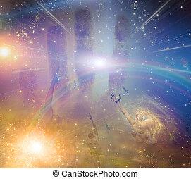 人們, 光, 在中間, 高飛, 星, 對于